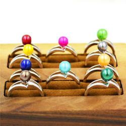Colorful Freshwater Pearl Women Rings Adjustable White Gold Plated Fashion Rings