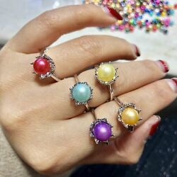 Royal Colorful Freshwater Pearl Rings Adjustable White Gold Plated Women Rings