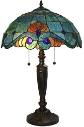 Blue Vintage Tiffany Style Table Lamp Bronze Base Art Glass Stained Shade Light $156.99