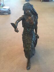 The Seated Mirror Girl Bronze Sculpture