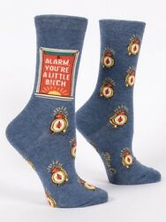 Blue Q Novelty Women#x27;s Crew Socks Alarm You#x27;re a Little B***h Blue OSFA $9.99