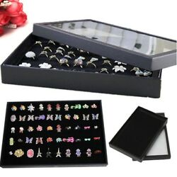 Jewelry Storage Box Ring Display Case Organizer Velvet Tray Holder Clear Top USA