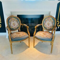 French Late-19th Century Pair of Louis XV Style Giltwood Chairs 1890-1900