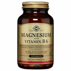 Solgar Magnesium with Vitamin B6 Tablets 250 Count Standard Packaging $18.92
