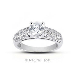 1.73ct tw. DVS2VG Round Natural Diamonds White Gold Pave Cathedral Ring 4.42mm