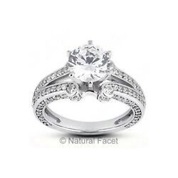 1.86ct tw DVS2Ideal Round AGI Certified Diamonds White Gold Vintage Ring 6.9mm