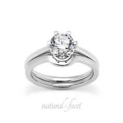 2.16ct DI1Very Good Round Certified Diamond White Gold Crown Wedding Set 3.8mm