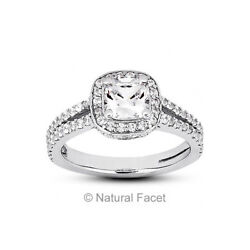 1.82ct FVS2Ideal Cushion Natural Diamonds Platinum Halo Split Shank Ring 3.8mm