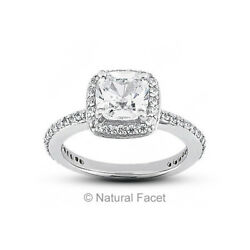 2.55 Carat DSI2Ideal Radiant AGI Certified Diamonds White Gold Halo Ring 2.8mm