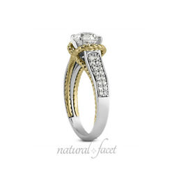 2.31ct tw JSI1Ideal Round Natural Diamonds Gold Cathedral Pave Rows Ring 3.5mm