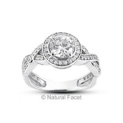 3.10ct FSI1Ideal Round AGI Certified Diamonds White Gold Halo Accents Ring 5mm