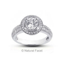 3.01 Carat II1Ideal Round Natural Diamonds Platinum Vintage Pave Rows Ring 4mm