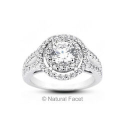 2.80 CTW JVS2Ideal Round Natural Diamonds Platinum Halo Split Shank Ring 4.6mm