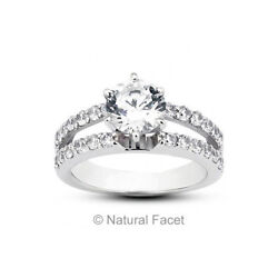 2.40 Carat FSI1Ideal Round Natural Diamonds White Gold Split Shank Ring 11.2mm