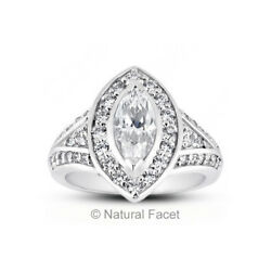 3.34ct tw DSI1Ideal Marquise AGI Certified Diamonds White Gold Halo Ring 9.8mm
