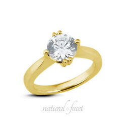 1.50 CT HSI2Ideal Round AGI Certified Diamond Yellow Gold Classic Ring 1.9mm
