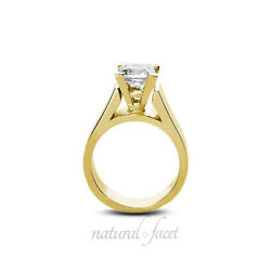 1.49ct FSI1Ideal Princess AGI Certify Diamond Yellow Gold Cathedral Ring 5.5mm