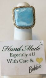 Amazing  handcrafted AAA Larimar   ring   925 silver size 8 12