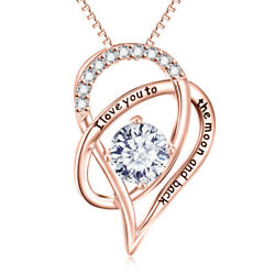 18K Rose Gold I Love You With TO THE MOON AND BACK Necklace Heart Pendant 18