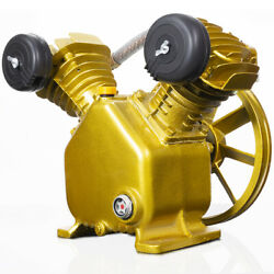 3HP 2 Piston V Style Twin Cylinder Air Compressor Pump Motor Head Air Tool Gold $135.95