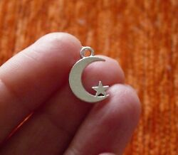 8Pcs Moon and Star Charms for Bracelet Pendant for Necklace Silver Tone 2 Sided $3.79