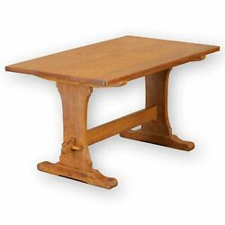 Bob Wrenman Hunter (Ex-Mouseman) Arts & Crafts Yorkshire English Oak Dining Tabl