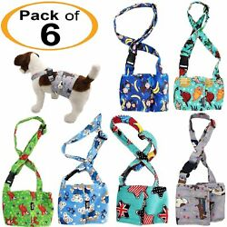 PACK of 6 Dog Male Diapers BELLY BAND Wrap Washable SOFT Fleece SUSPENDERS XS L $59.99