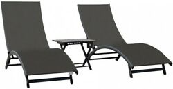 Outdoor Chaise Lounge Fold-Up Collapsible Side Table Aluminum Frame Gray 3-Piece
