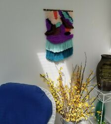 Woven Wall Hanging Woven Wall Tapestry Weaving Turquoise Purple Wall Decor NEW $155.00