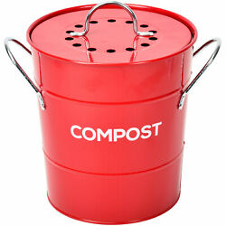 Spigo Steel Kitchen Compost Bin With Vented Charcoal Filter and Bucket Red 1 G $25.24