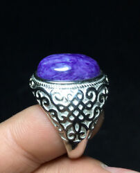 50 60ct A Rare natural Charoite Ring Rich Purple Crystal Ring Can Adjusted $19.99