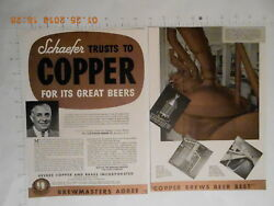 1952 Revere Copper Brass Inc F&M Schaefer Brewing CO beer trade AD RARE brewery
