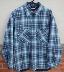 Conte Of Florence Gray Blue Plaid Thick Quilted Flannel Shirt - Made in Italy