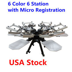 Rotary Manual 6 Color 6 Station Screen Printing Machine with Micro Registration