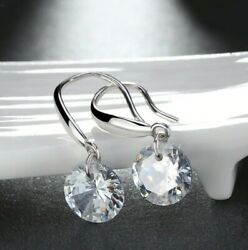 925 Sterling Silver Dangle Drop Earrings made with 2ct Swarovski Crystal Stone