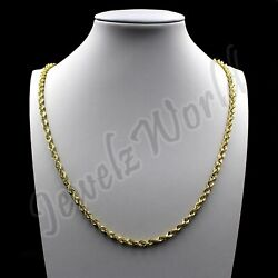 10K Solid Yellow Gold Necklace Gold Rope Chain 2.5mm 16quot; 18quot; 20quot; 22quot; 24quot; 26quot; 30quot; $129.99