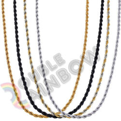 Men Stainless Steel GoldSilverBlack 2mm3mm4mm5mm Rope Necklace Chain Link