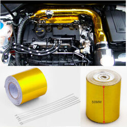 10m Gold Heat Shield Wrap Tape Car Intake Intercooler Pipe Reflective Insulation