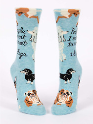 Blue Q Novelty Women#x27;s Crew Socks People I Want To Meet: 1. Dogs Blue OSFA $9.99