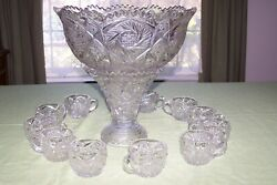 Antique Large  Pressed Glass Punch Bowl 12 Cups