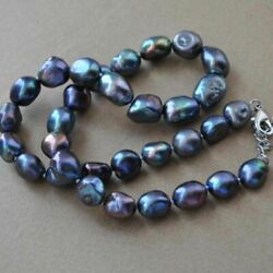White Gold Baroque 8-10mm Genuine Peacock Pearl 18