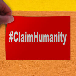 Decal Sticker Claim Humanity Red Lifestyle Claim Humanity Outdoor Store Sign