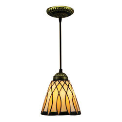 Tiffany Style Bell Shade Stained Glass One light Mini Pendant Lighting Fixtures $50.59