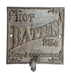 Rustic Hot Bath Sign Hook Farmhouse Primitive Wall Bathroom Decor $17.50