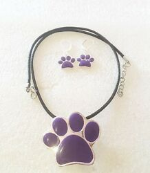 Purple Paw Print Necklace + Earrings Pin  Silver-tone Dog Cat Black Cord