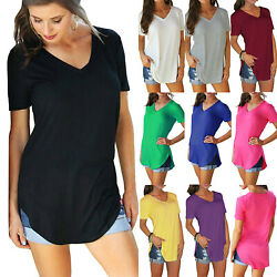 Womens Short Sleeve V Neck Tunic Tops Blouses Loose Oversized Casual T-Shirts