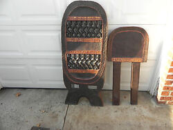 Arts of Africa - Bamileke Lazy Man Chair - Brass -Beads - Cameroon  Grassland