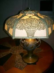ANTIQUE SLAG GLASS TABLE LAMP $450.00