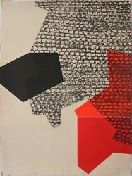 Jacqueline de Butler Signed Color Woodcut-Mid Century Modern Abstract RedBlack