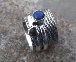 Lapis Lazuli Solid 925 Sterling Silver Spinner Ring Meditation Ring Size 01